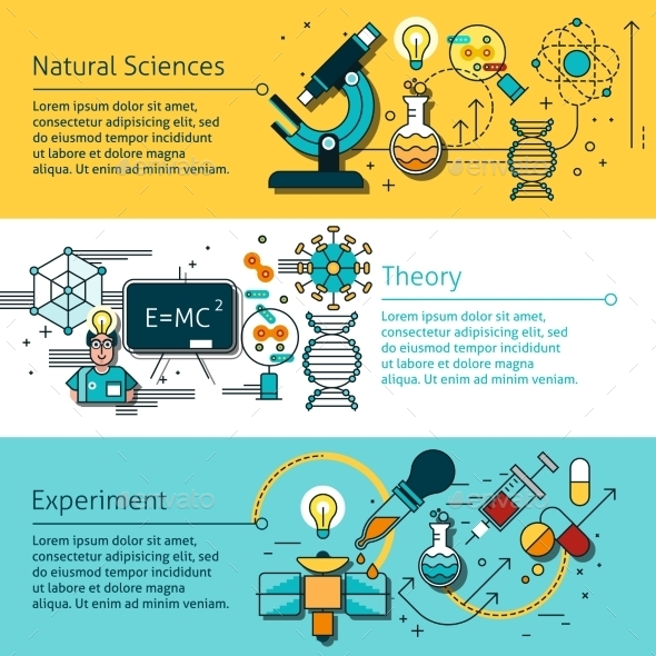 Science Line Banners Set  - Technology Conceptual