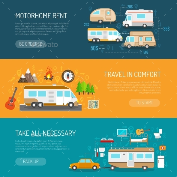 Recreational Vehicle Banners Set  - Travel Conceptual