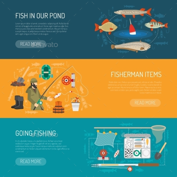 Fishing Banners Set  - Sports/Activity Conceptual