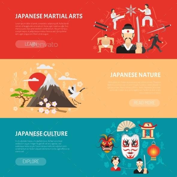 Japan Banners Set - Travel Conceptual