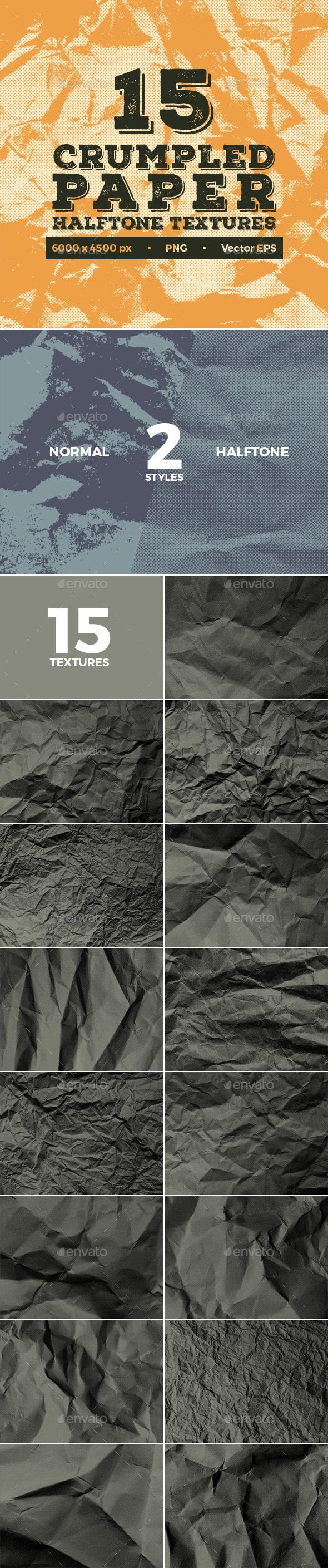 15 Crumpled Paper Halftone Textures - Paper Textures