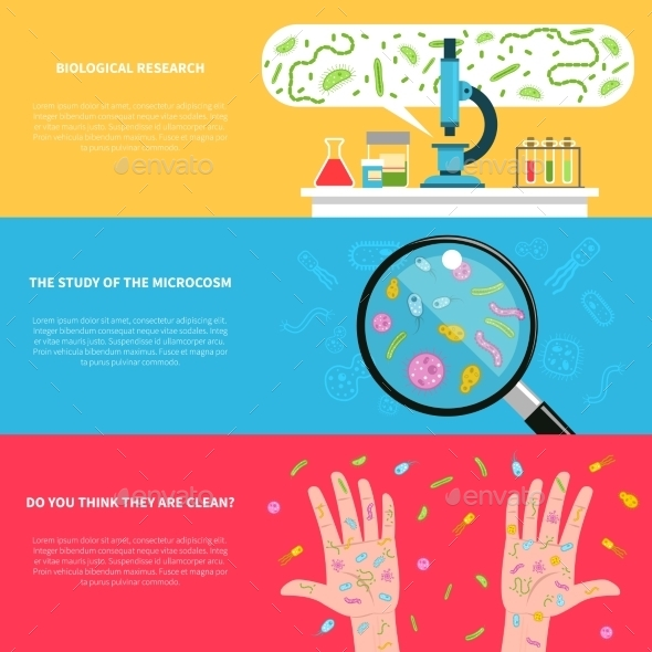 Microbiology Banner Set - Health/Medicine Conceptual