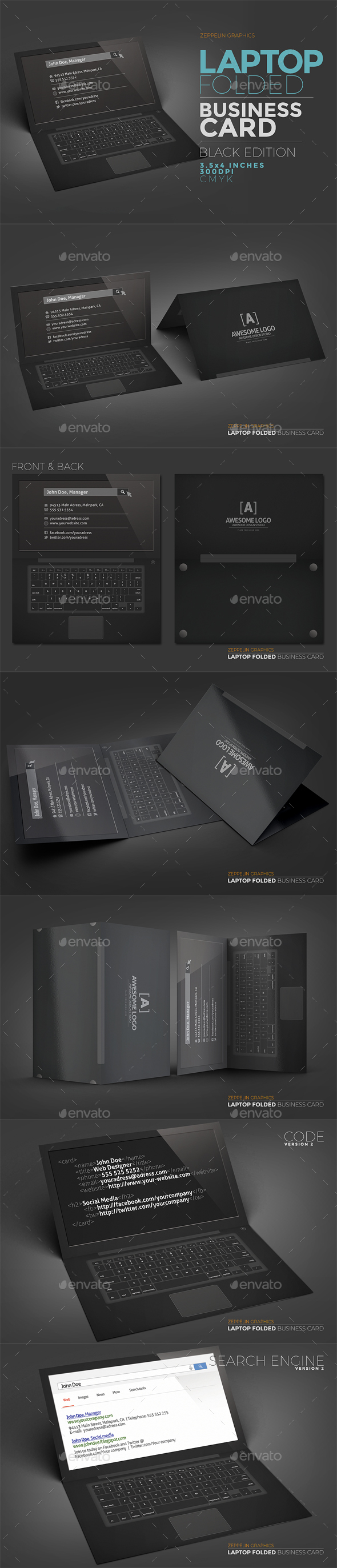 Laptop Business Card Template - Black Edition - Business Cards Print Templates