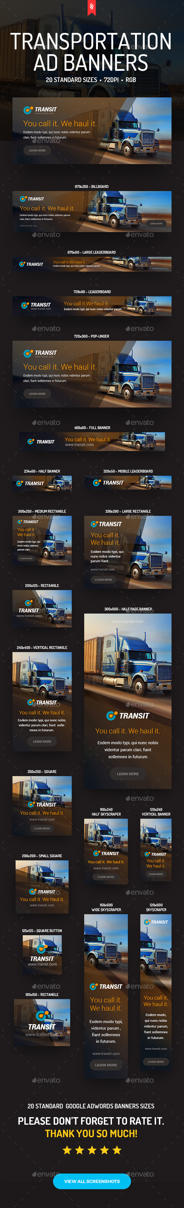 Transit - Transportation Ad Banners - Banners & Ads Web Elements