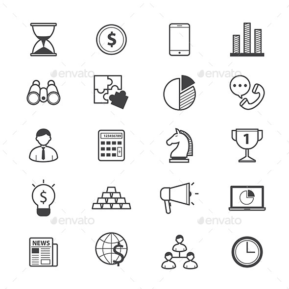 Business and Finance Strategy Icons Line - Business Icons