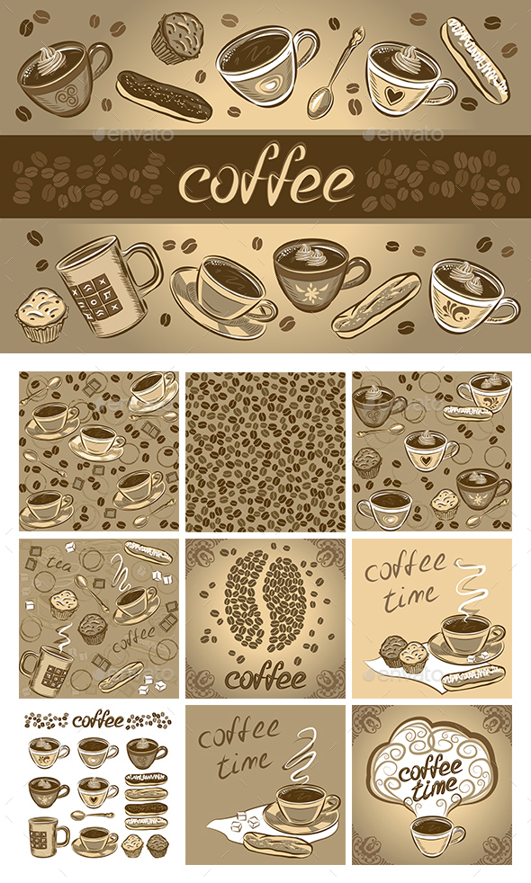 Set of Coffee Design Elements - Backgrounds Decorative