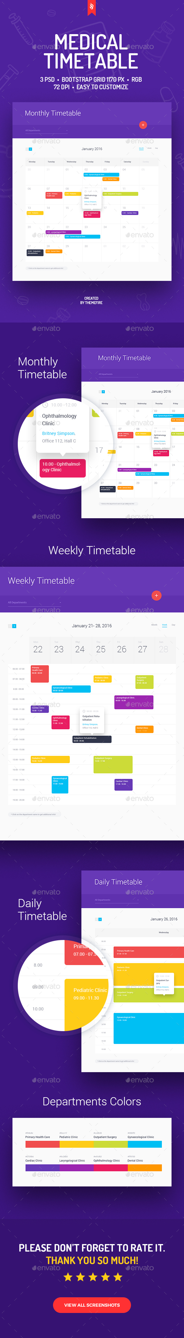 Medical Timetable - Tables Web Elements