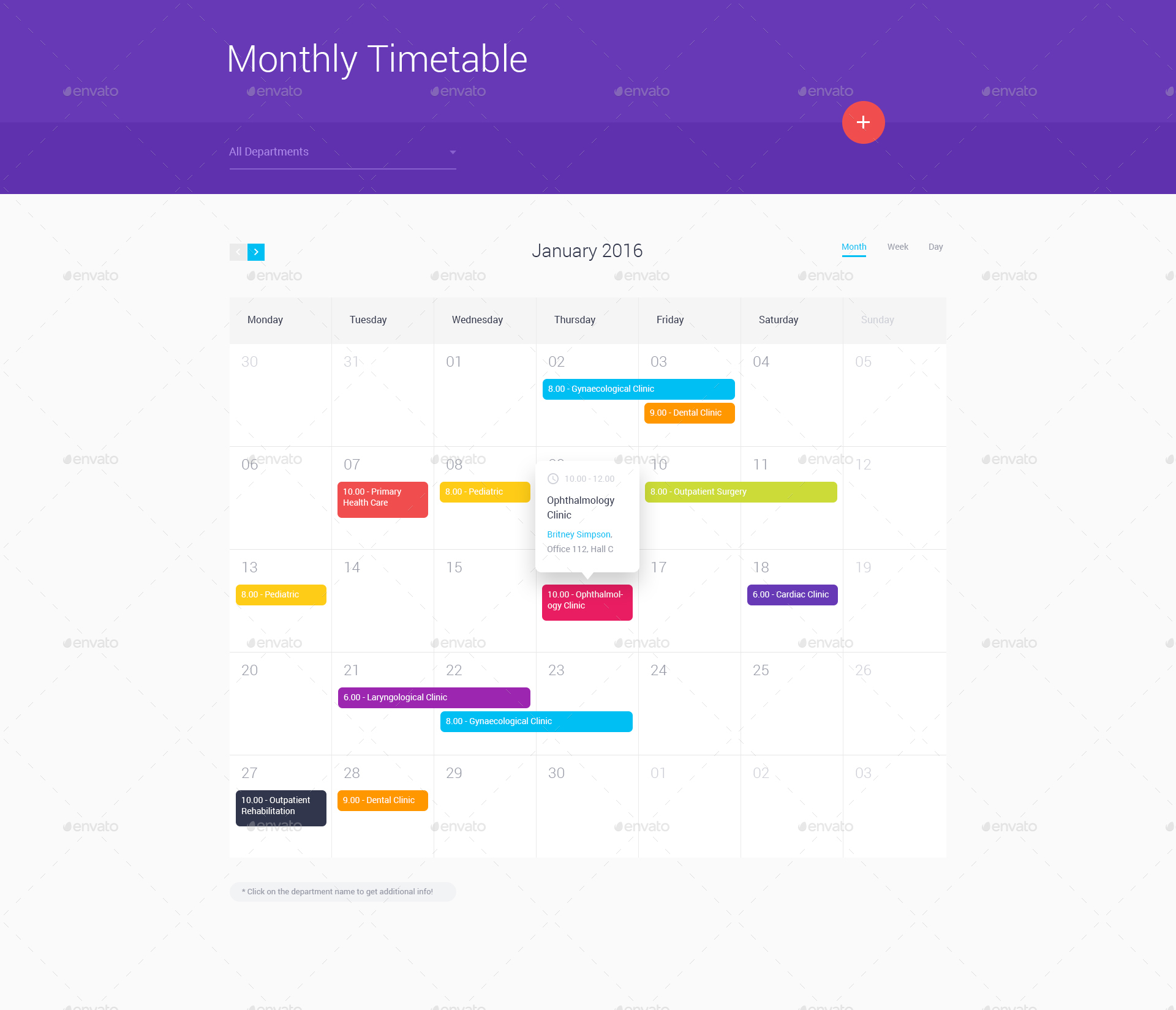 medical timetable by themefire