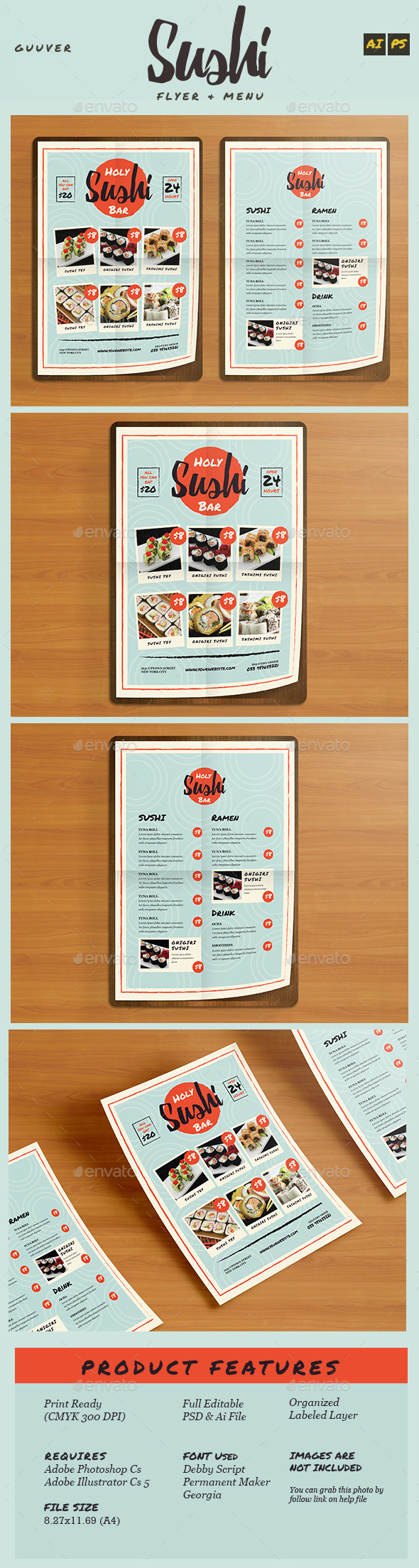 Sushi Bar Restaurant Menu/Flyer - Food Menus Print Templates