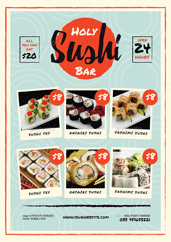 sushi bar restaurant menu  flyer by guuver