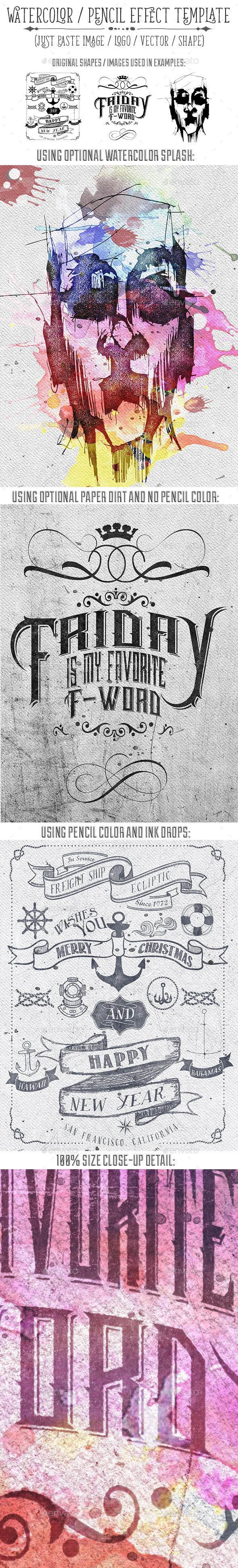 Watercolor or Pencil Press Style Text, Logo, Image Treatment - Hero Images Graphics
