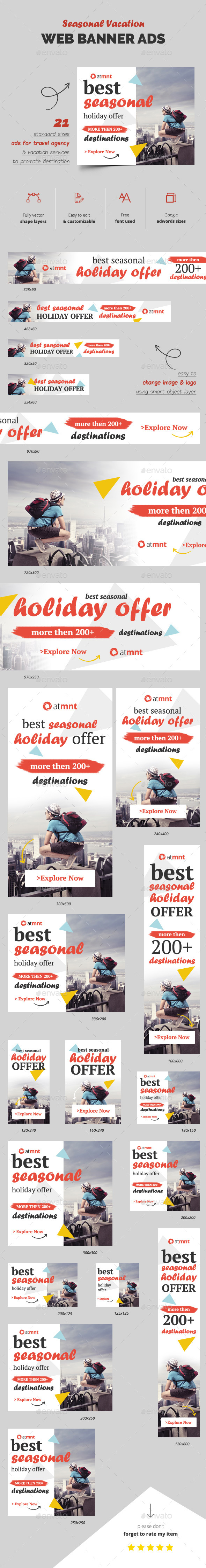 Holiday Web Banner Ads - Banners & Ads Web Elements