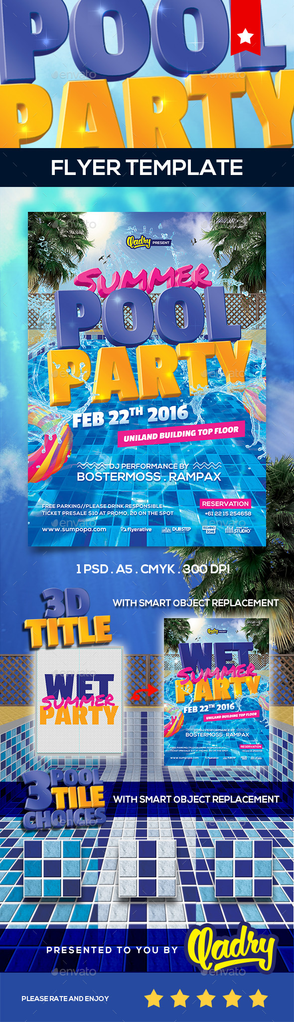 pool party flyer template by qadry graphicriver