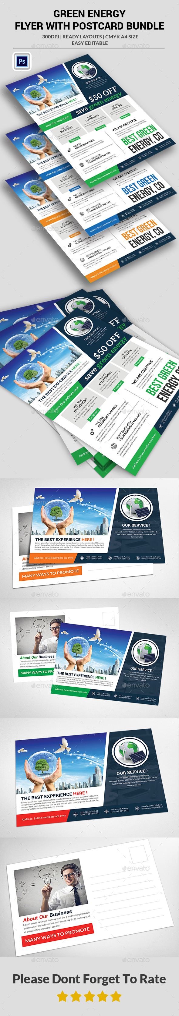 Green Energy  Flyer With Postcard Bundle  - Corporate Flyers