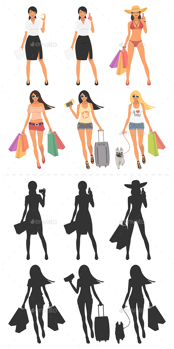 Girls and Their Silhouettes - People Characters