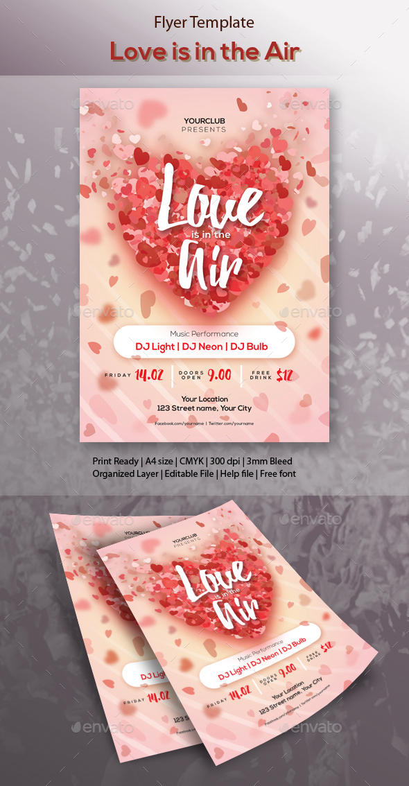 Love is in the Air Party Flyer Template - Clubs & Parties Events