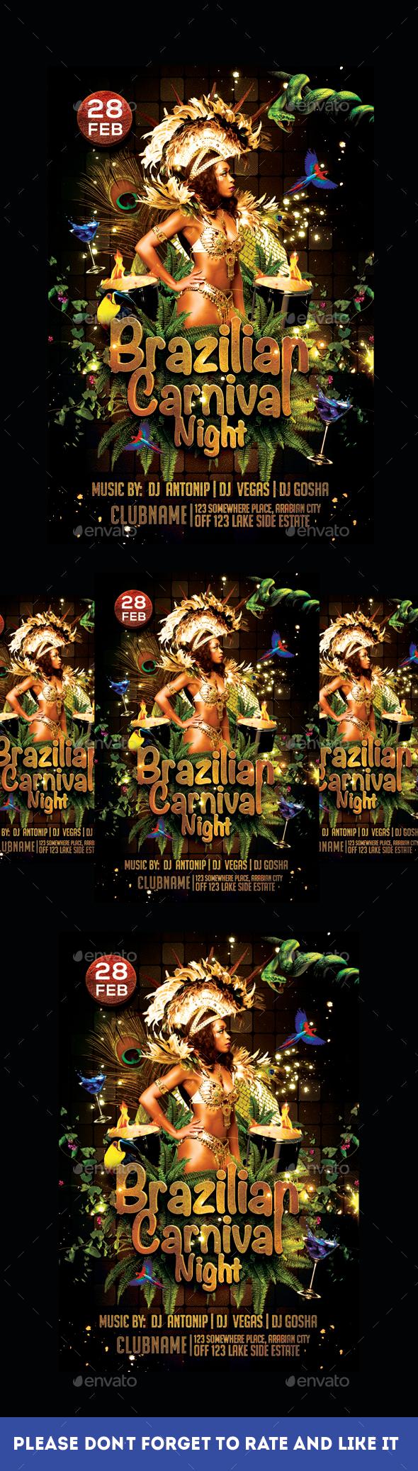 Brazilian Carnival Night Flyer - Flyers Print Templates