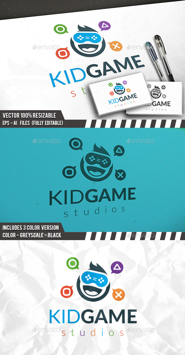 Kid Gamer Logo Template - Humans Logo Templates