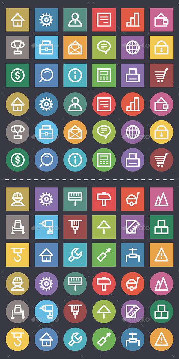 Business and Construction Flat Icons Pack - Web Elements Vectors