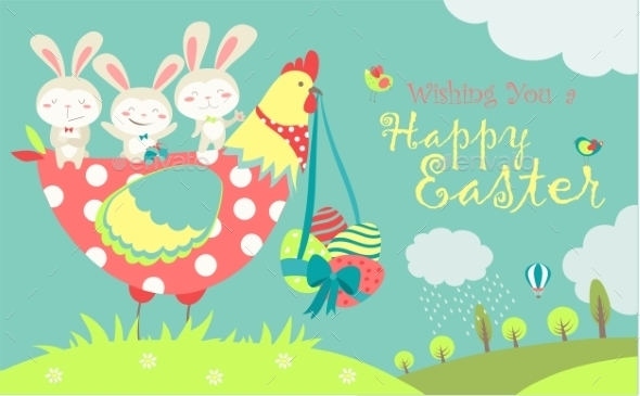 Easter Bunnies, Chicken And Easter Eggs  - Seasons/Holidays Conceptual