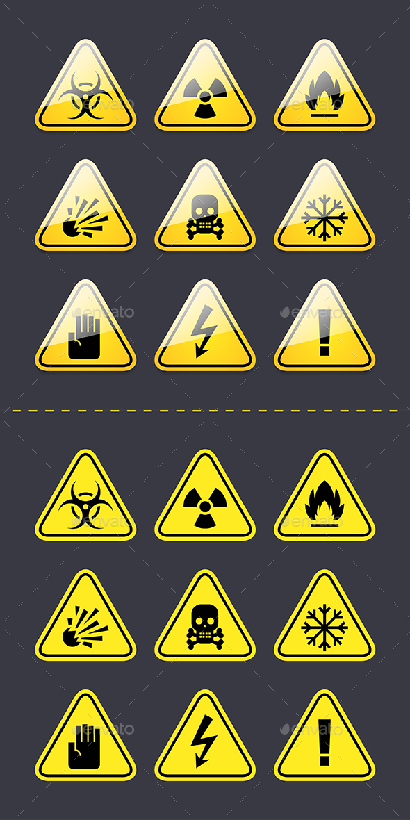 Icons Warning Signs of Danger - Web Elements Vectors