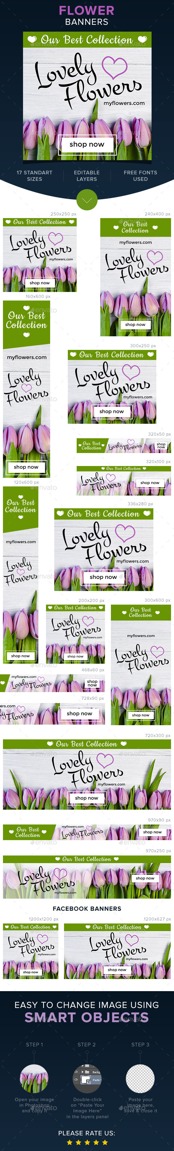 Flower Banners - Banners & Ads Web Elements