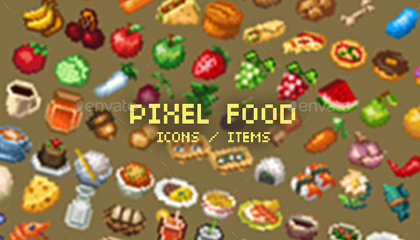 Pixel Art Food Icons By Ansimuzgames | Graphicriver