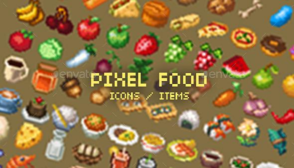 Pixel Art Food Icons - Sprites Game Assets