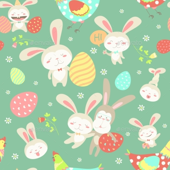 Easter Cartoon Seamless Pattern - Animals Characters