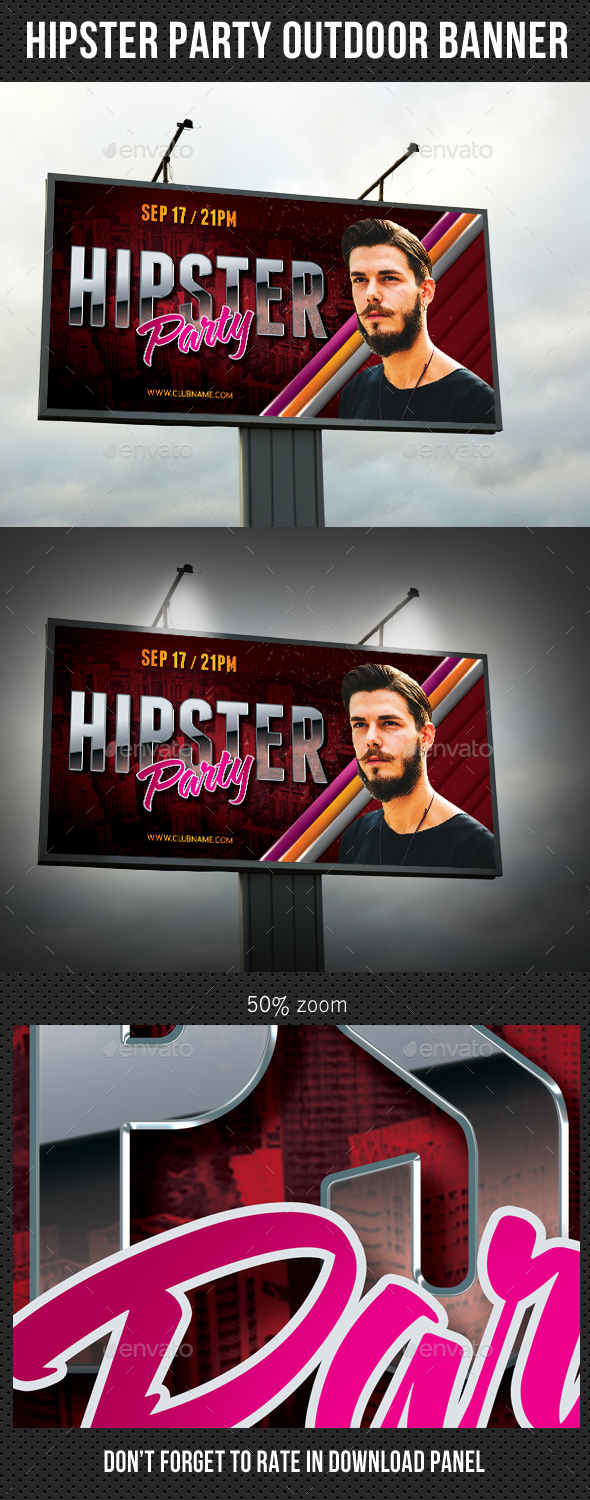 Hipster Party Event Outdoor Banner - Signage Print Templates