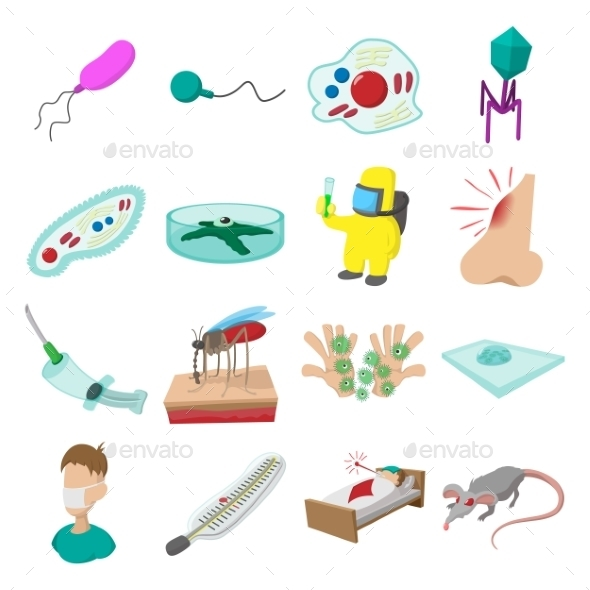 Virus Cartoon Icons Set - Web Technology
