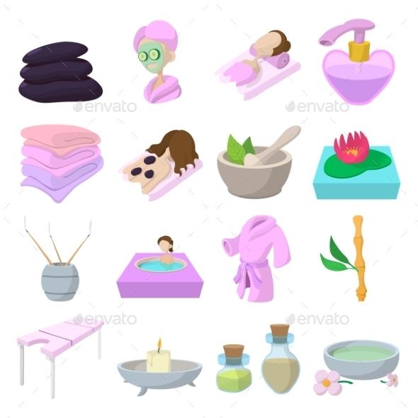Spa Cartoon Icons Set - Health/Medicine Conceptual
