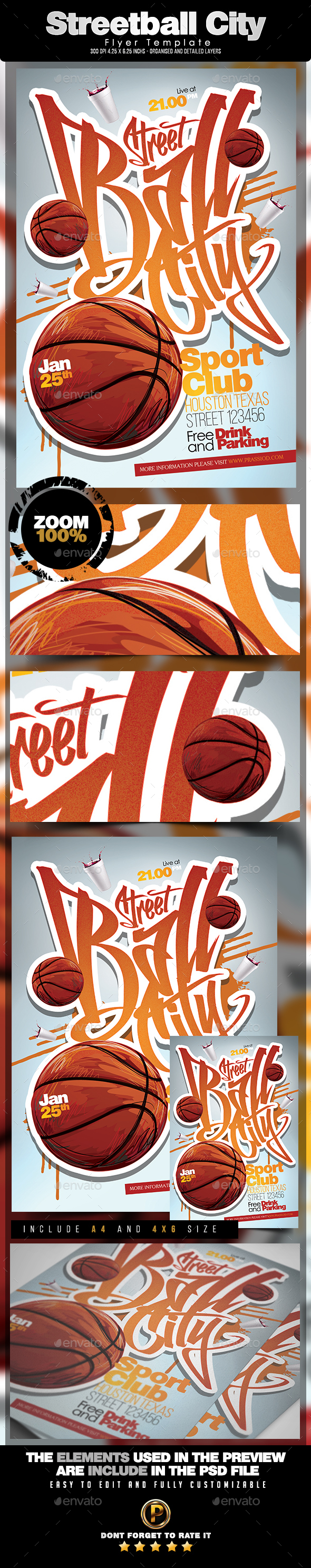 Streetball City Flyer Template - Sports Events