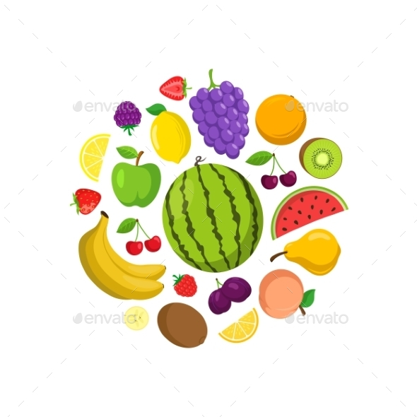 Fruits Round Composition. - Food Objects