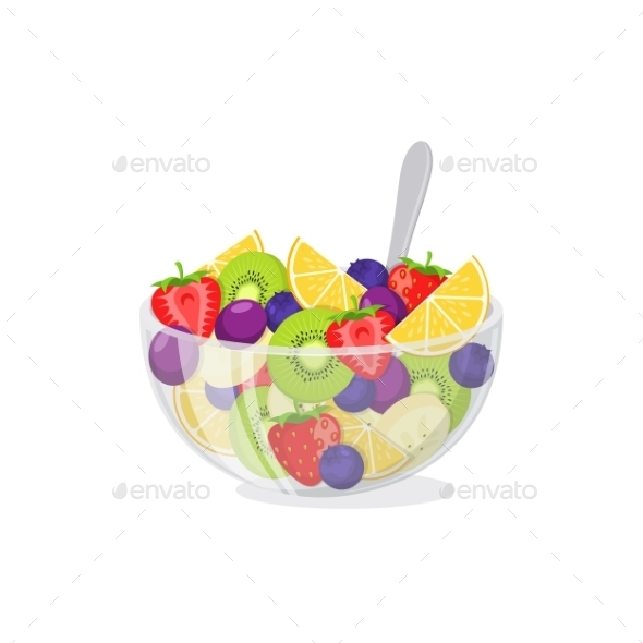 Fruit Salad In Glass Bowl. - Food Objects