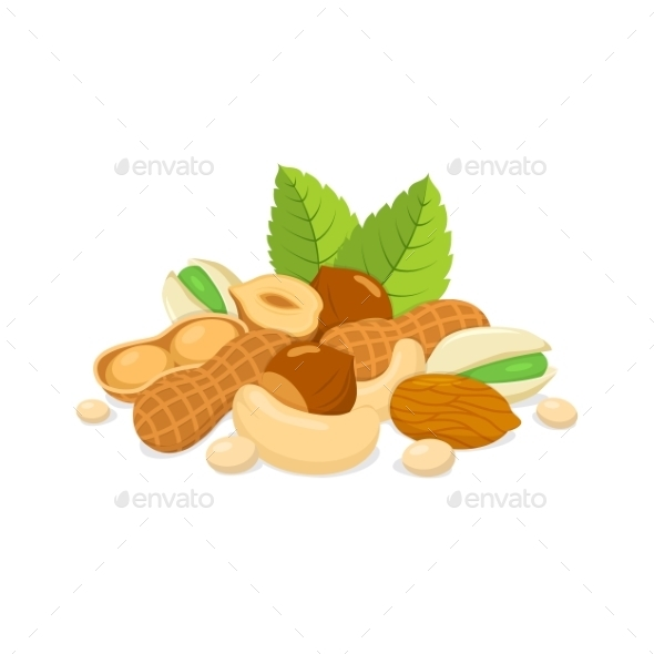 Sorts Of Nuts Composition. - Food Objects