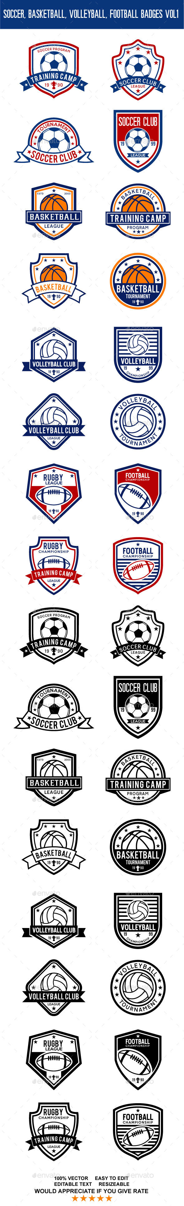 Soccer, Basketball, Volleyball, Football Badges Vol 1 - Badges & Stickers Web Elements