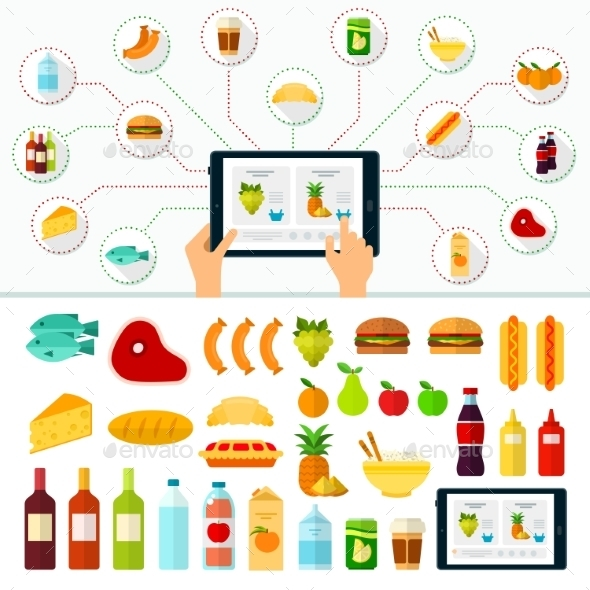 Online Products Order. Internet Shopping - Food Objects