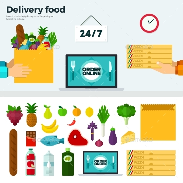 Banner And Icons Of Delivery Food - Food Objects
