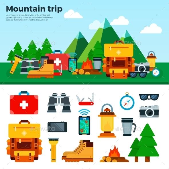Travel Concept. Climbing Equipment. Sport Items - Travel Conceptual