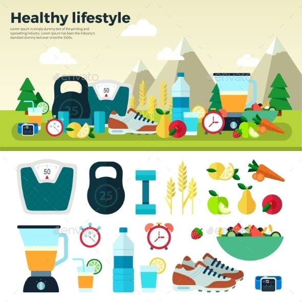 Healthy Lifestyle Sport Proper Nutrition - Food Objects