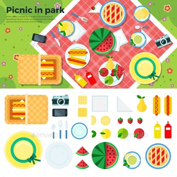 Summer Picnic In Park Banner And Icons - Landscapes Nature