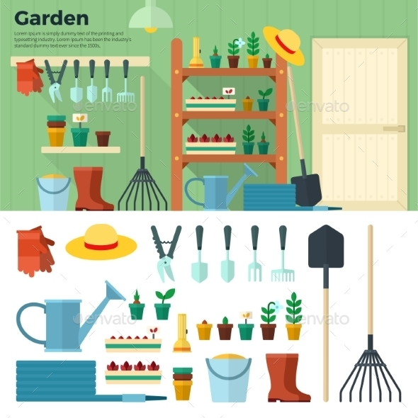 Concept Of Gardening. Tools For Working In Garden  - Seasons Nature