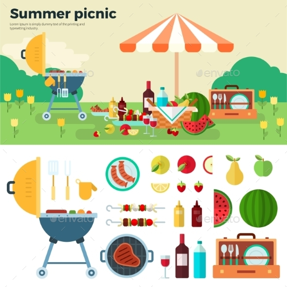 Summer Picnic On Meadow Under Umbrella - Miscellaneous Seasons/Holidays