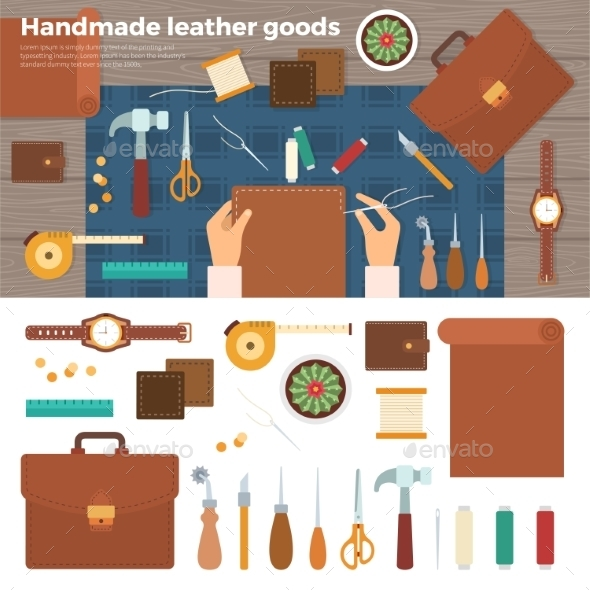 Tools For Handmade With Leather. Hobby Concept - Man-made Objects Objects