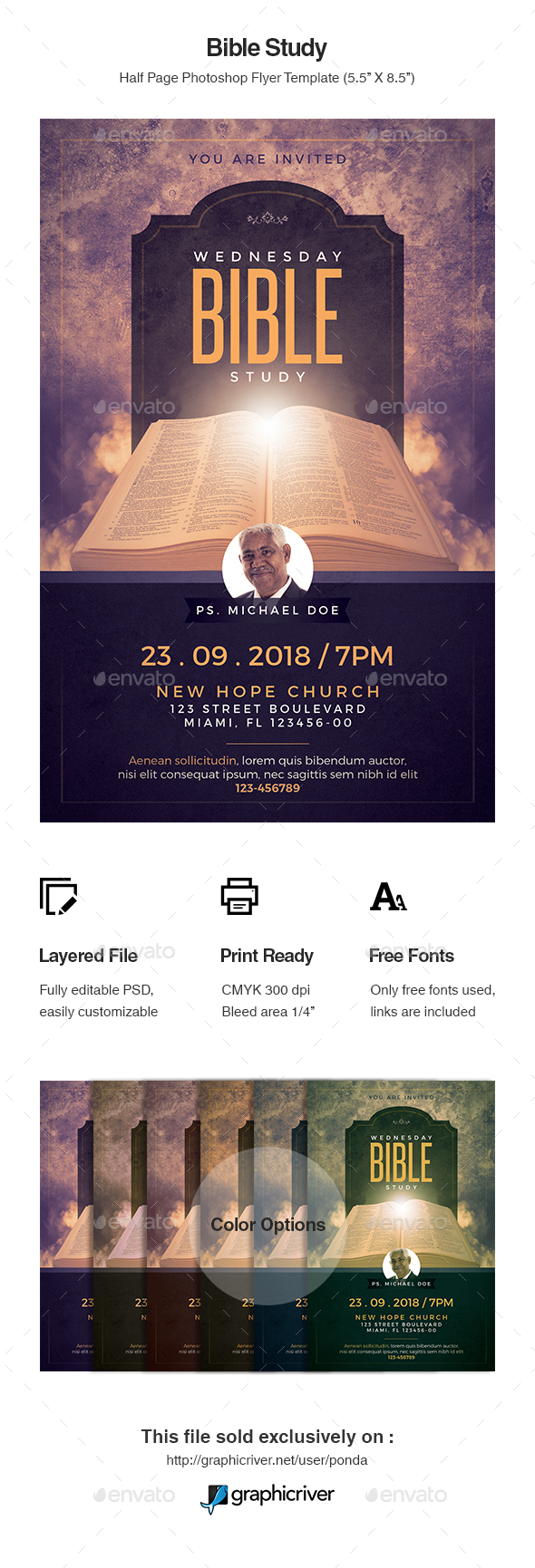 Bible Study Flyer Template - Church Flyers
