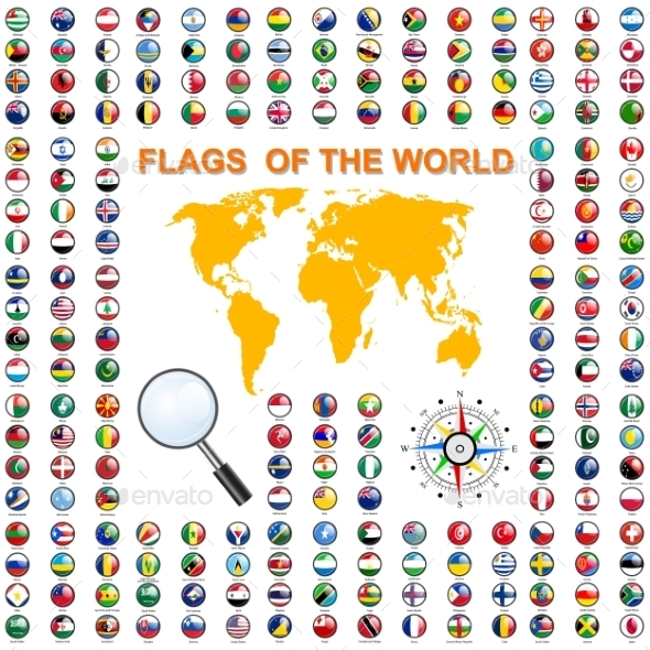 Set Flags Of World Sovereign States. Vector - Web Elements Vectors