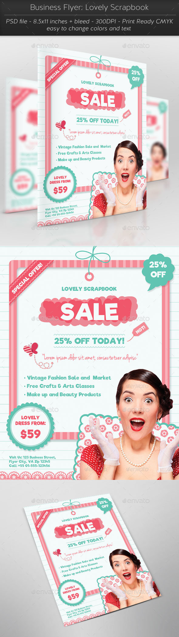 Business Flyer: Lovely Scrapbook - Flyers Print Templates