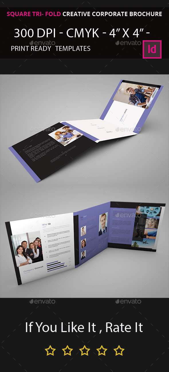 Square Tri- Fold Indesign Brochure - Corporate Brochures