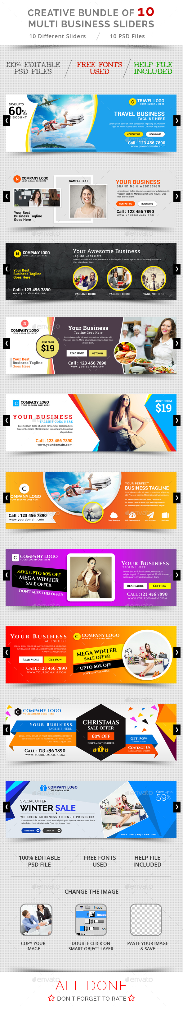 Bundle Of 10 Creative Business Sliders - Sliders & Features Web Elements